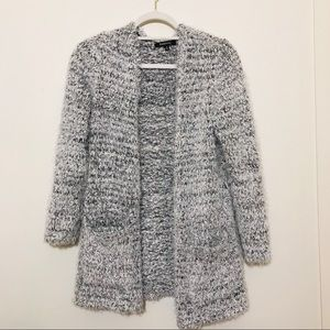 Cozy Black and White Fuzzy Cardigan Long